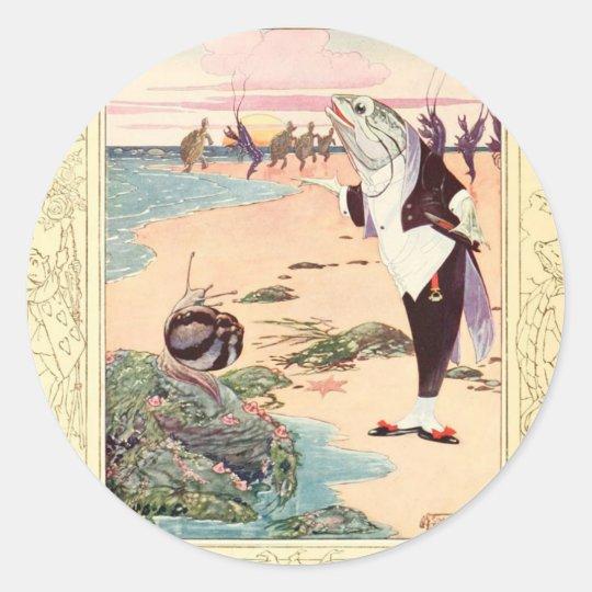 Alice in Wonderland - Beach Scene Classic Round Sticker