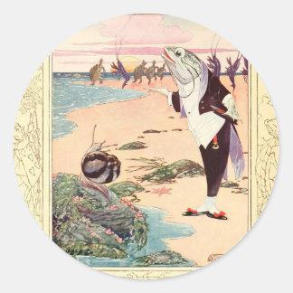 Alice in Wonderland - Beach Scene Round Stickers