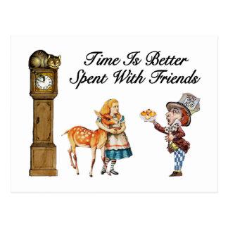 Alice In Wonderland Better With Friends Postcard