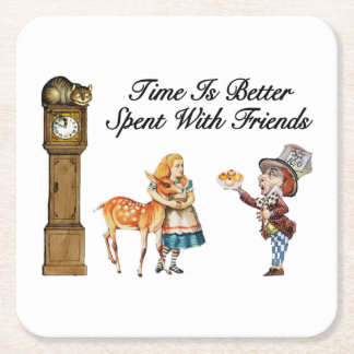 Alice In Wonderland Better With Friends Square Paper Coaster
