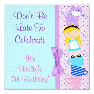 Alice In Wonderland Birthday Celebration 5.25x5.25 Square Paper Invitation Card