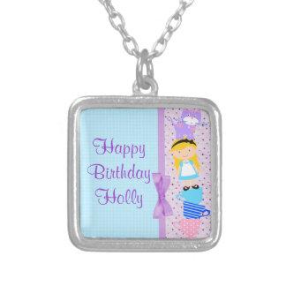 Alice In Wonderland Birthday Celebration Silver Plated Necklace