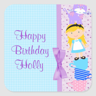 Alice In Wonderland Birthday Celebration Square Sticker