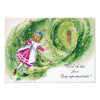 Alice in Wonderland Birthday Don't Be Late Card