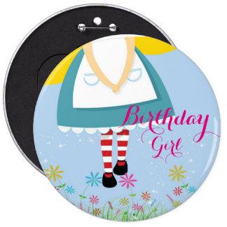 Alice in Wonderland Birthday Girl Button