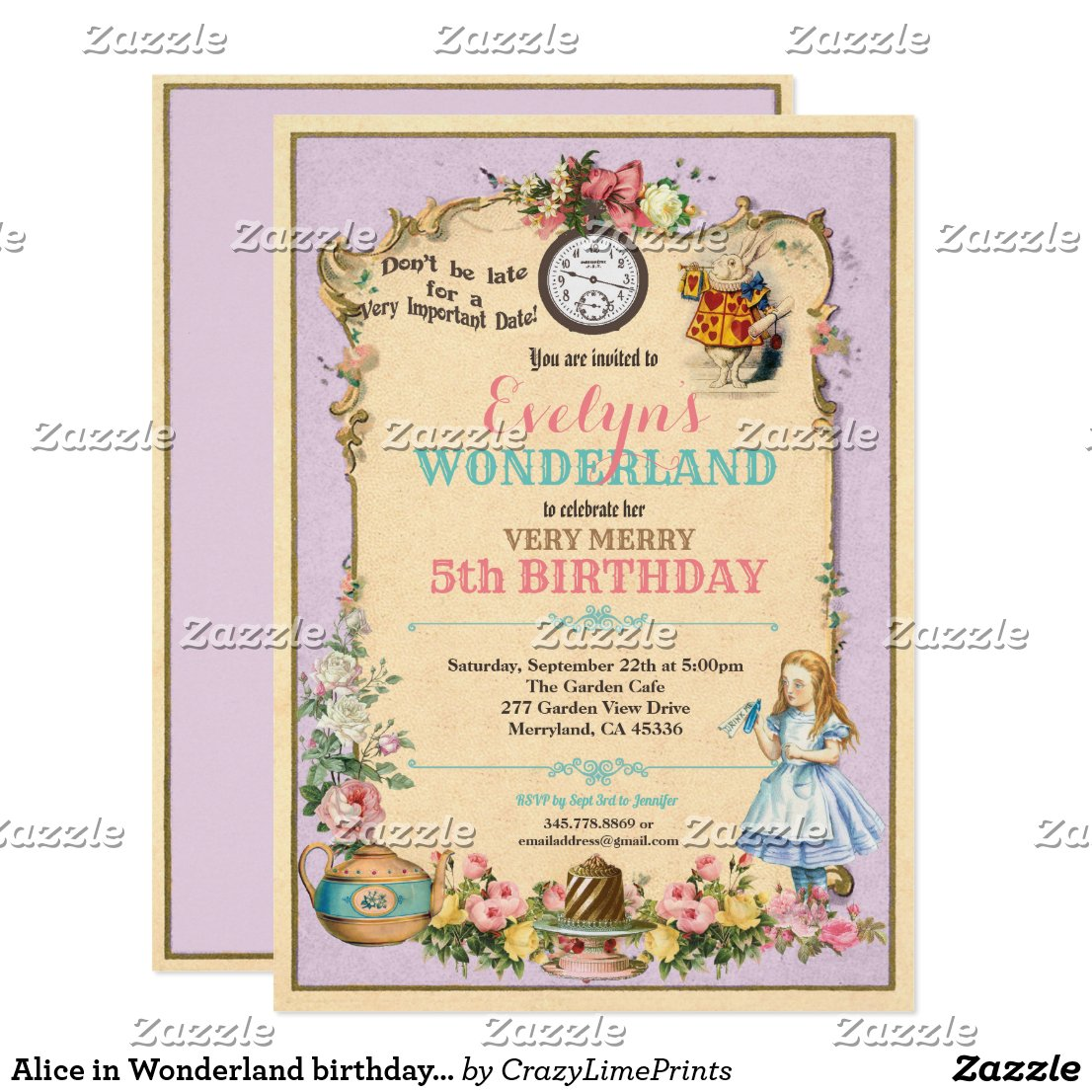 Alice in Wonderland birthday invitaion purple Invitation