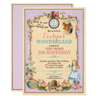 Alice in Wonderland birthday invitaion purple Invitation