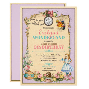 Alice In Wonderland Birthday Invitations Zazzle