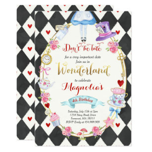 Alice In Wonderland Invitations Zazzle