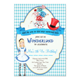 alice in wonderland birthday invitations & announcements | zazzle, Birthday invitations