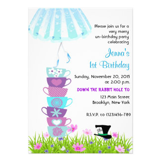 Alice in Wonderland Birthday Invite Madhatter