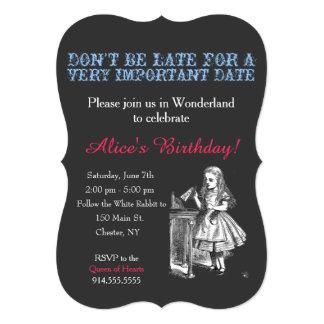 Alice in Wonderland birthday party custom vintage 5x7 Paper Invitation Card