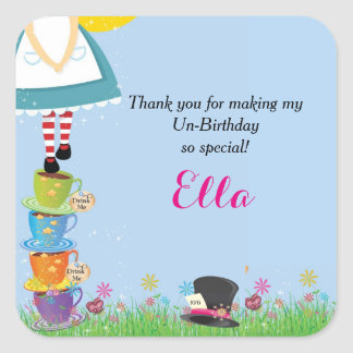 Alice in Wonderland Birthday Party Favor Stickers