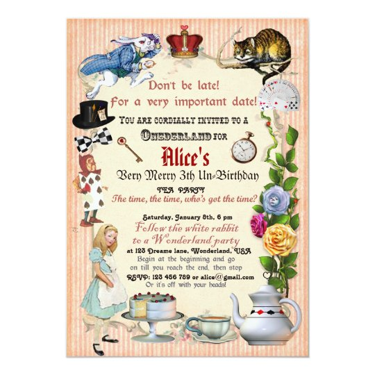 Alice in Wonderland Birthday Party Invitation Zazzlecom