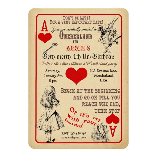 Alice in Wonderland Birthday Party Invitation Zazzlecom