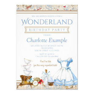 Alice In Wonderland Birthday Party Invitations Announcements Zazzle