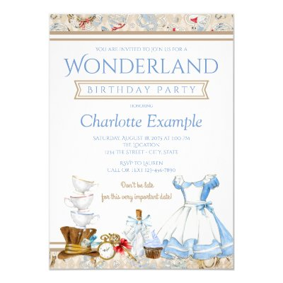 Alice in wonderland birthday party invitation zazzle filmwisefo