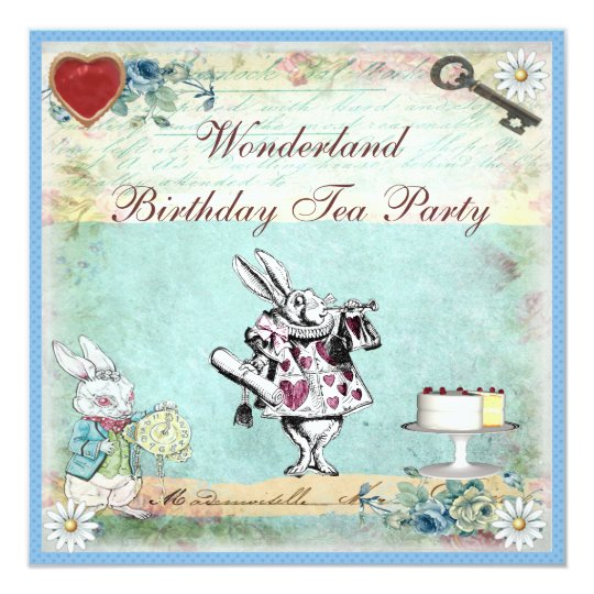 Alice in Wonderland Birthday Tea Party Invites – Tea Birthday Party Invitations