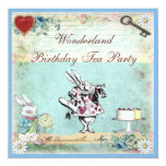 "Alice in Wonderland Birthday Tea Party Invites 5.25"" Square Invitation Card"