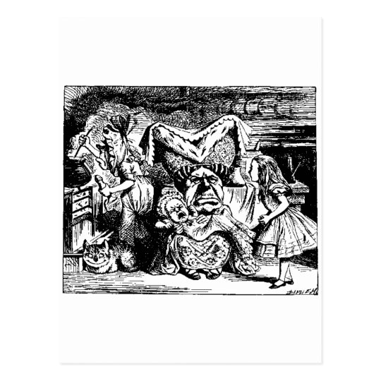 Alice in Wonderland, black and white, Ducchess Postcard