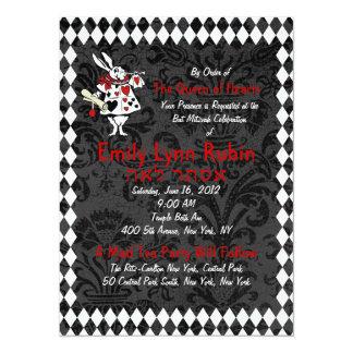 "Alice in Wonderland Black Party Invitation 5.5"" X 7.5"" Invitation Card"