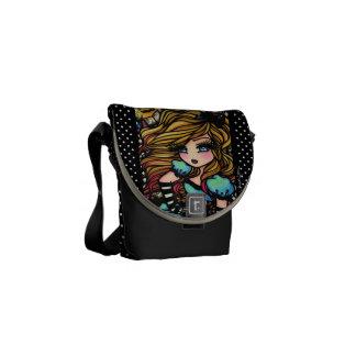 Alice in Wonderland Black & White Fantasy Art Courier Bag