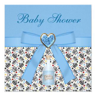 Alice in Wonderland Blue Baby Shower Tea Party Custom Announcements