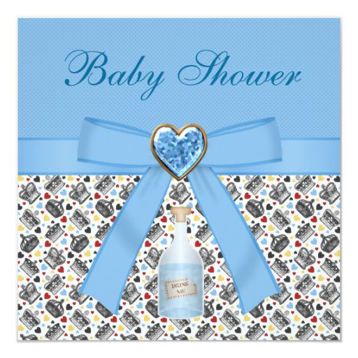 Alice in Wonderland Blue Baby Shower Tea Party 5.25x5.25 Square Paper Invitation Card