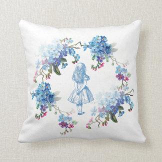 Alice in Wonderland Blue Floral Throw Pillow