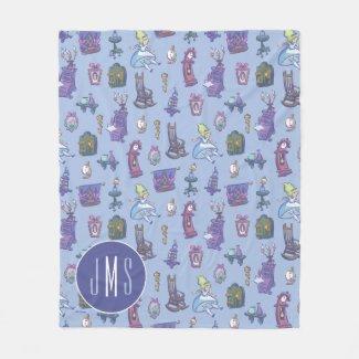 Alice In Wonderland | Blue Monogram Pattern Fleece Blanket
