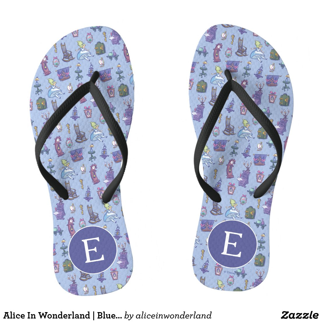 Alice In Wonderland | Blue Monogram Pattern Flip Flops