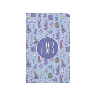 Alice In Wonderland   Blue Monogram Pattern Journal