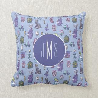 Alice In Wonderland | Blue Monogram Pattern Throw Pillow