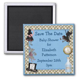 Alice in Wonderland Blue Save The Date Baby Shower Fridge Magnet