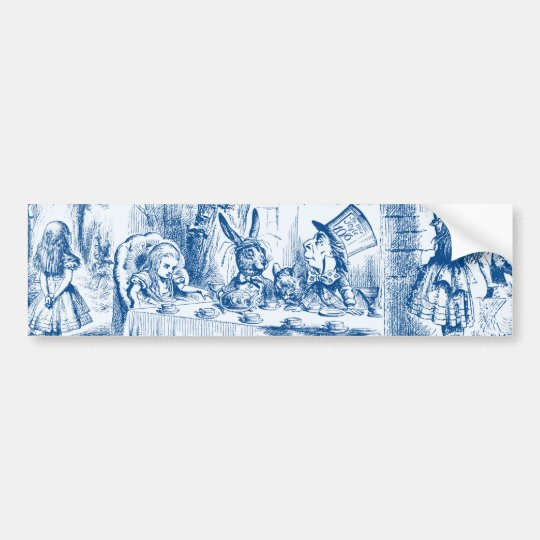 Alice In Wonderland Blue & White Toils Bumper Sticker