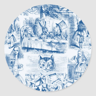 Alice In Wonderland Blue & White Toils Classic Round Sticker