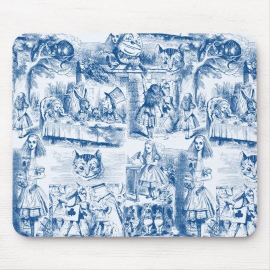 Alice In Wonderland Blue & White Toils Mouse Pad