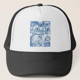 Alice In Wonderland Blue & White Toils Trucker Hat