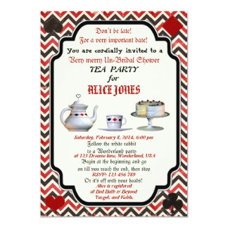 "Alice in Wonderland Bridal Shower Invitation 5"" X 7"" Invitation Card"
