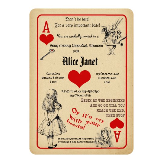 alice in wonderland bridal shower invitation | zazzle, Invitation templates