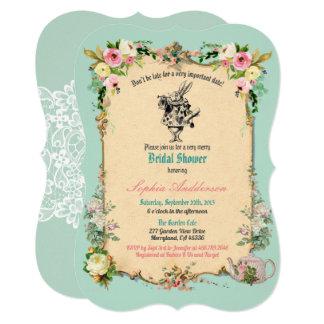 Alice in Wonderland bridal shower invitation teal