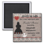 Alice in Wonderland Bridal Shower Save the Date 2 Inch Square Magnet