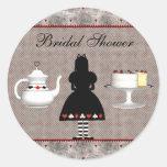 Alice in Wonderland Bridal Shower Tea Party Classic Round Sticker