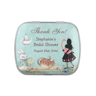 Alice in Wonderland Bridal Shower Thank You Favor Jelly Belly Tin