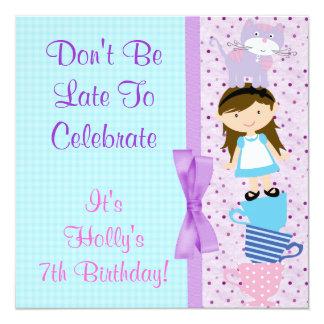 Alice In Wonderland Brunette Birthday Celebration 5.25x5.25 Square Paper Invitation Card