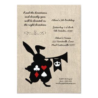 Alice in Wonderland Burlap Tea Party Birthday Card