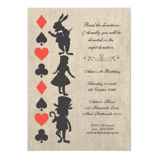 Alice in Wonderland Burlap Tea Party Birthday 4.5x6.25 Paper Invitation Card