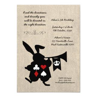 Alice in Wonderland Burlap Tea Party Birthday Personalized Invites