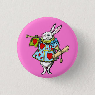 Alice in Wonderland Button Rabbit Red Hearts