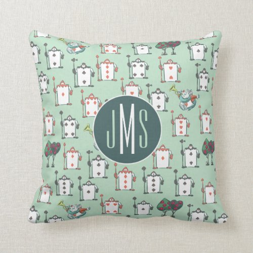 Alice In Wonderland  Card Soldiers _ Monogram Throw Pillow
